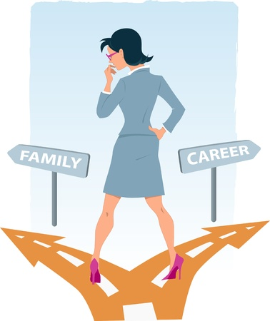 road work: Businesswoman standing at the fork in the road, choosing between career and family