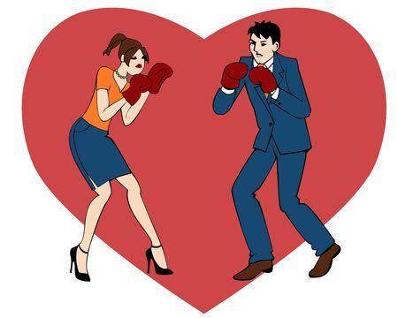 Vector illustratie van een jonge man en vrouw in dozen met een groot rood hart op de achtergrond, oorlog van seksen Stock Illustratie
