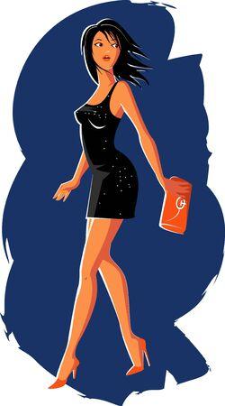 외출 파티 드레스의 섹시한 여자