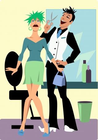 mujer fea: Vector de dibujos animados de un estilista feliz y un cliente sorprendido con un peinado loco