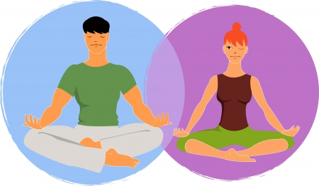 Young man and woman meditate in lotus asana, woman peeking at a man, vector illustration Stock Vector - 19117755