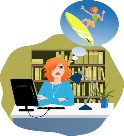 Cute young woman sitting at her desk in an office, dreaming of vacation, vector illustration