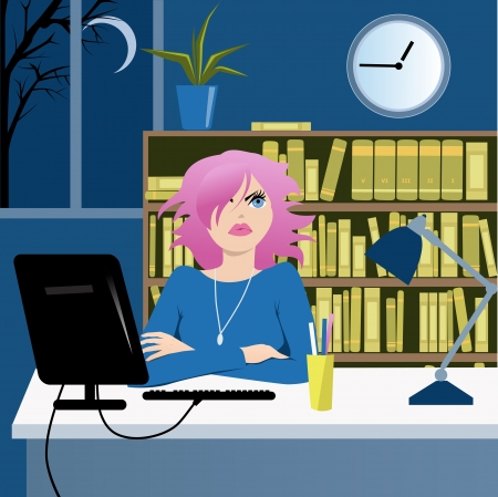 coping: Cute young woman at her desk in an office late at night looking at the clock, vector illustration