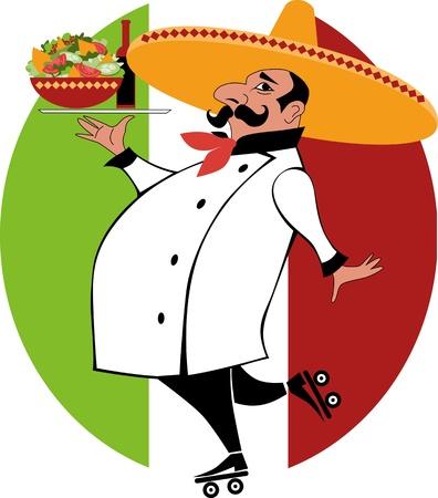 mexican food: caricatura de un cocinero mexicano en uniforme de chef y sombrero en patines con una bandeja con comida