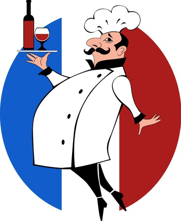 Vector cartoon of a cook with mustache in chef uniform carrying a tray bottle of wine and a glass Illustration
