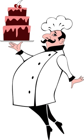 Pastry chef carrying a chocolate layered cake, vector cartoon