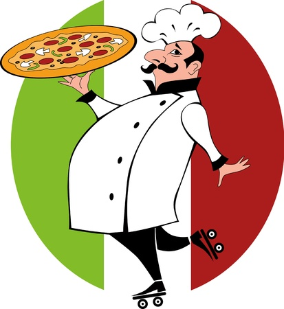 Funny chef in chef uniform on roller skates holding a pizza
