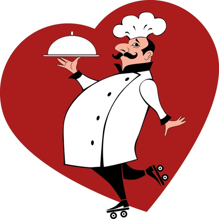 Cartoon chef on roller skates carrying a platter, red heart on the background Illustration