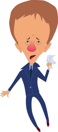 stuffy: Man with red running congested nose and huge swollen head holding a tissue, vector illustration