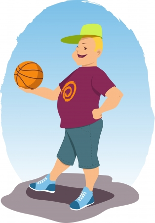 Smiling blond man in shorts, tee shirt and baseball hat holding a basketball illustration