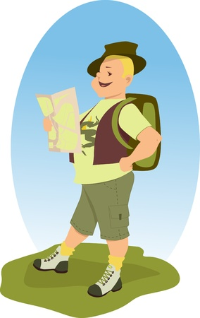 Happy hiker with a map Illustration
