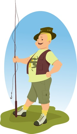 angling rod: Smiling chubby blond man in outdoor clothes holding a fishing rod illustration