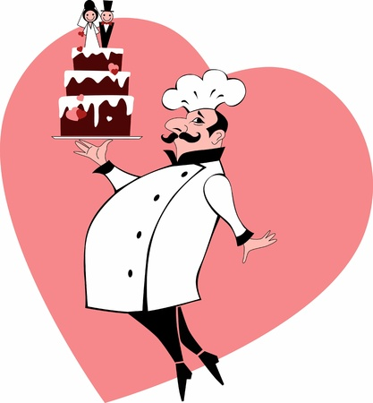 caterer: Baker with a wedding cake and a heart on the background