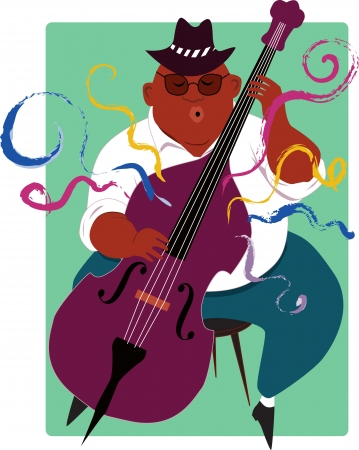 contra bass: Cool African-American overweight man playing jazz contra-bass illustration
