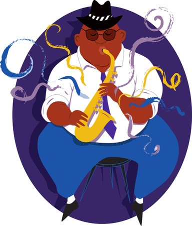 Cool overweight black guy playing jazz saxophone illustration