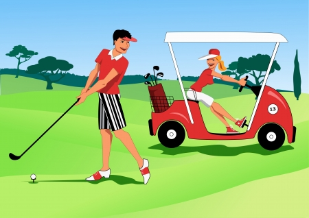 golfer: Young couple playing golf