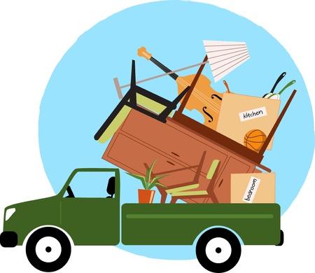 home moving: Camioneta cargada con muebles