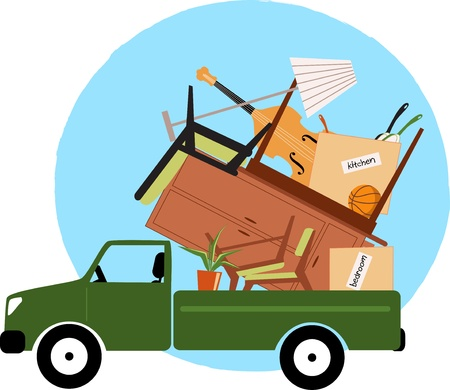 move: Pickup truck loaded with furniture