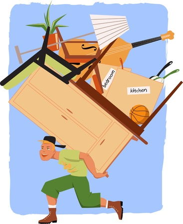 Mover with a pile of furniture on his back