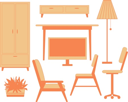 arm chair: Contemporary furniture set Illustration