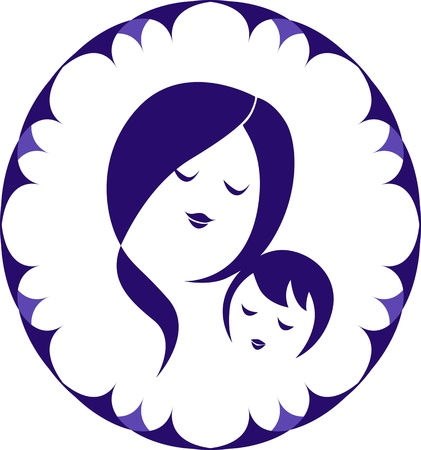 Mother and child icon in ornamental oval frame