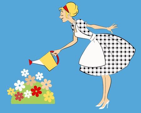 Mooie vrouw in 1950 outfit drenken een bloem bed