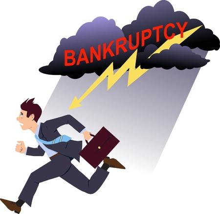 running: Businssman running away of bankruptcy Illustration