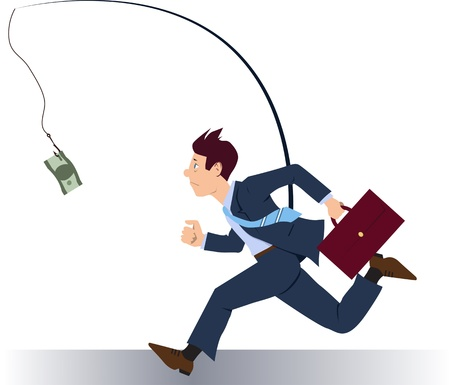 business briefcase: Businessman running after money Illustration