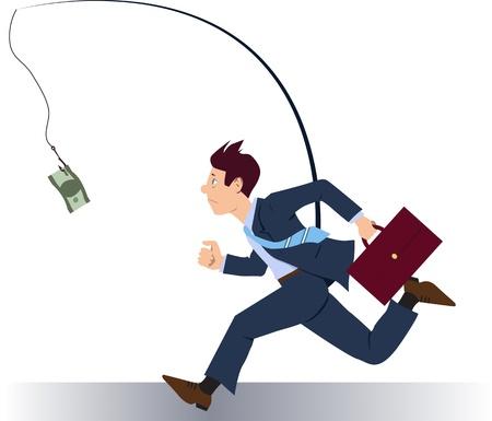 geld: Zakenman lopen na geld Stock Illustratie