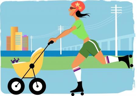MÅ'oda skating roller kobieta z stroler