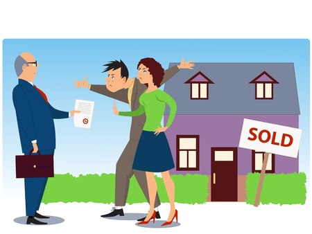Conflict over real estate selling Stock Illustratie