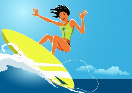Young woman surfing an ocean wave Vector