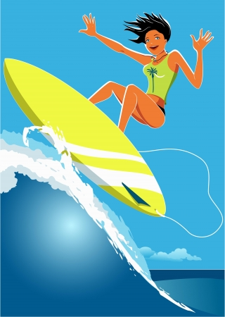 young girl: Young girl surfing