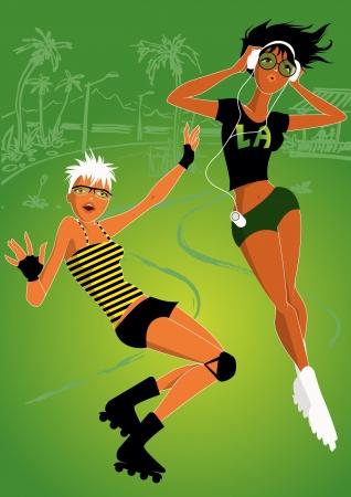 roller: Girls roller skaters Illustration
