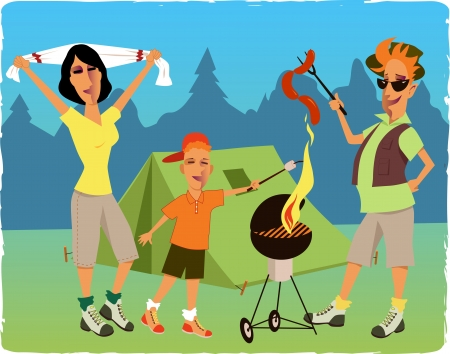 Family camping and barbecuing at the park Vector