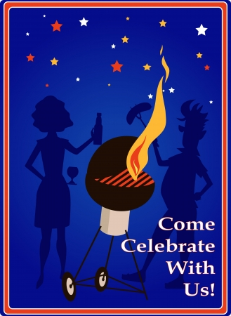 Invitation to a 4th of July barbecue Vector