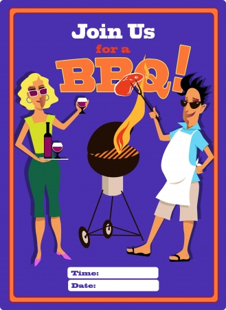 Invitation to a barbecue party template Vector
