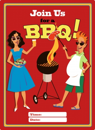 Invitation to a barbecue party Vector