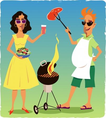 brandweer cartoon: Paar bij een barbecue party Stock Illustratie