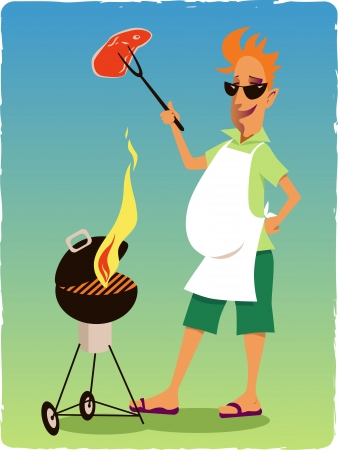man outdoors: Hapy man bagbecuing steak on a grill