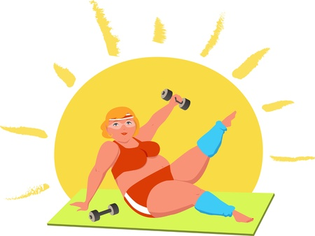 working out: Overweight woman working out