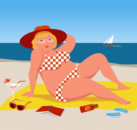 Overweight woman on the beach Vector