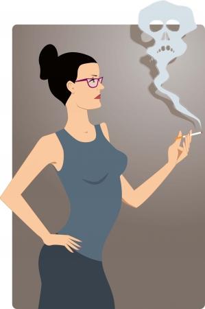 woman smoking: Woman smoking a cigarette, smoke cloud forms a scull