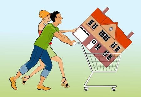 新しい自家所有者は家でカートを押す  イラスト・ベクター素材