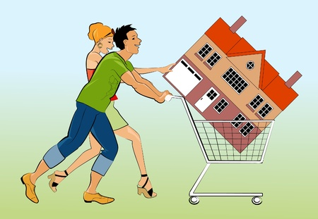 buy house: New homeowners pushing a cart with a house