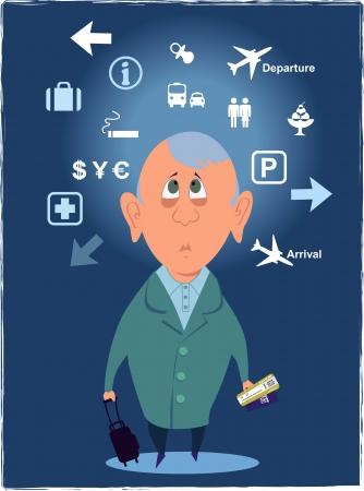 공항 표지판을보고 혼란 된 여객