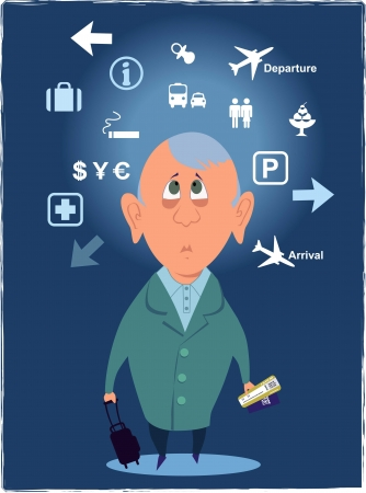 disoriented: Confused passenger looking at airport signs