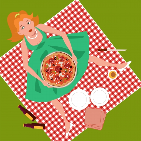 Picnic with pizza