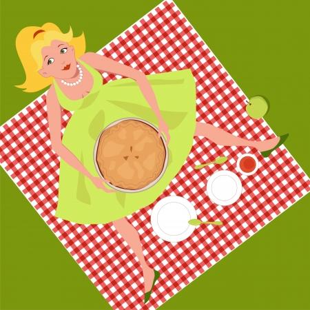 pastel de manzana: Muchacha en una comida campestre con una tarta de manzana