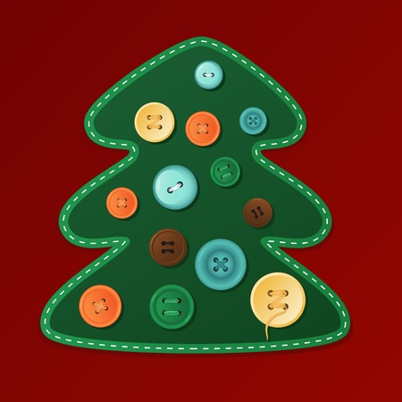 Christmas Tree dressed with buttons, vector illustration for a greeting card